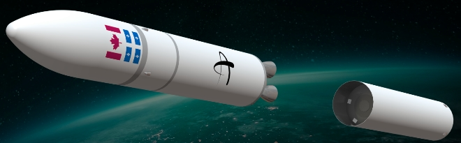 Artist illustration of  Reaction Dynamics rocket.