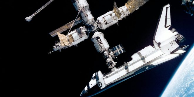 The Mir Space Station and Space Shuttle Atlantis on June 29, 1995