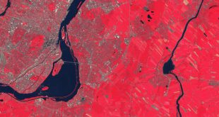 Montreal from Sentinel-2 using near-infrared band
