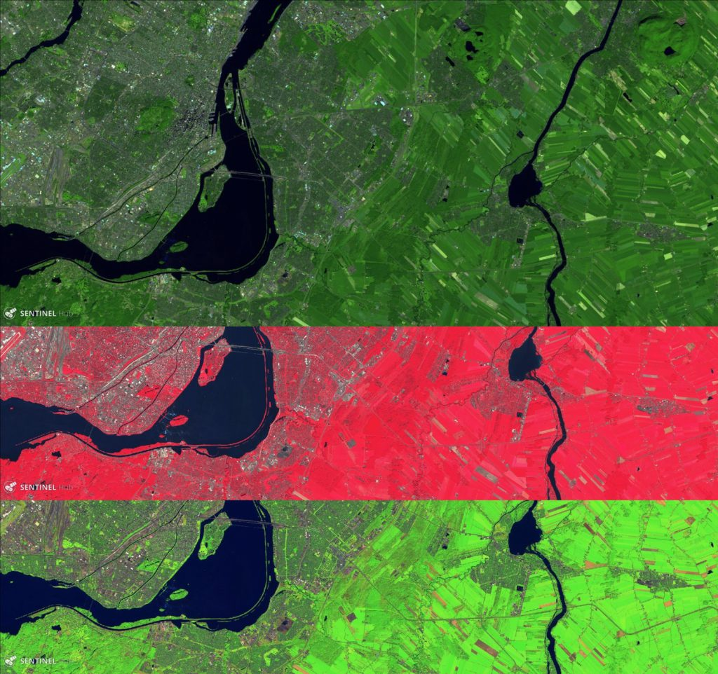 Three images of the farm land to the East of Montreal from Sentinel-2. Top is true color; the middle differentiates healthy vegetation with use of the near-infrared channel; the bottom image makes use of the shortwave-infrared to contrast between different types of vegetation