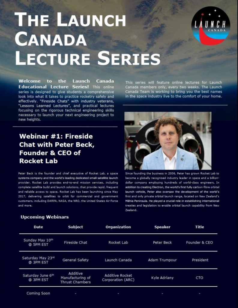 Launch Canada Lecture Series schedule