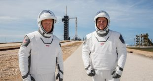 NASA astronauts Douglas Hurley (left) and Robert Behnken (right) participate in a dress rehearsal for launch at the agency's Kennedy Space Center in Florida on May 23, 2020