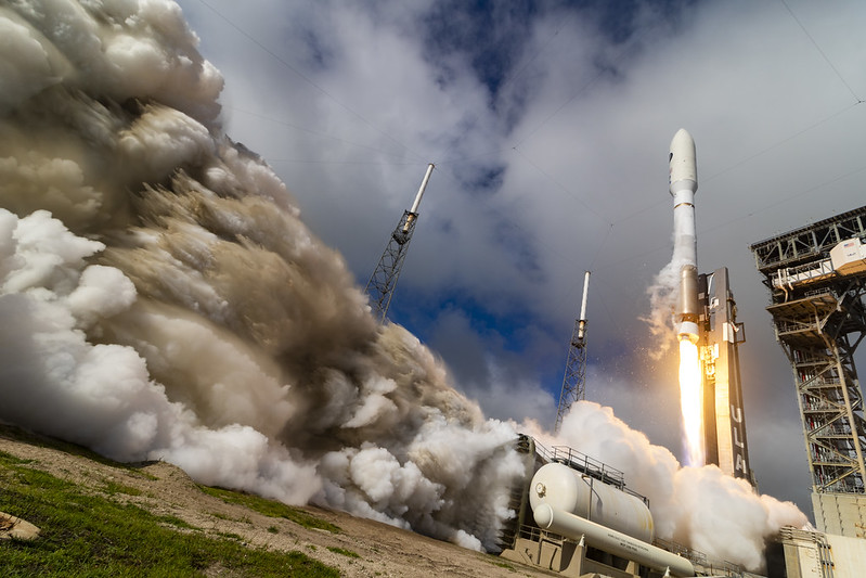 A ULA Atlas V rocket carrying the USSF-7 mission for the U.S Space Force lifts off from Space Launch Complex-41 at 9:14 a.m. EDT on May 17, 2020.