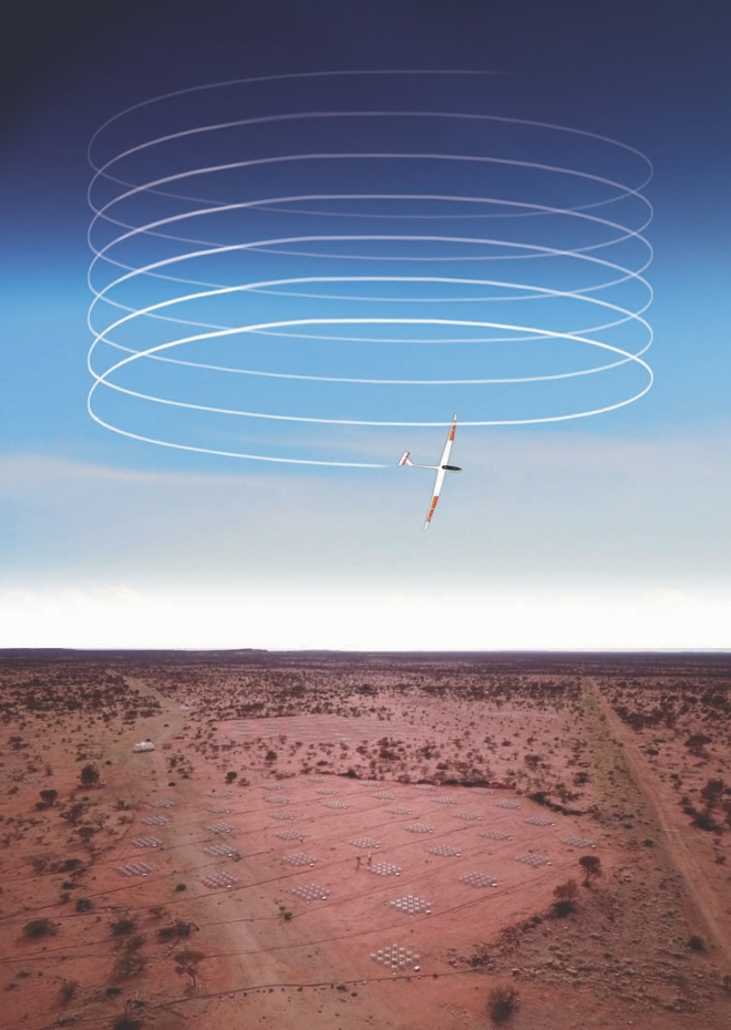 Artist illustration of the Stratodynamics HiDRON flying over the Western Australia Square Kilometre Array to help calibrate the telescope.
