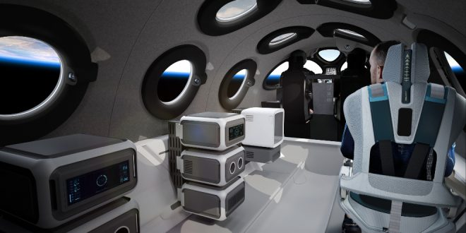 SpaceshipTwo cabin in payload configuration for suborbital research