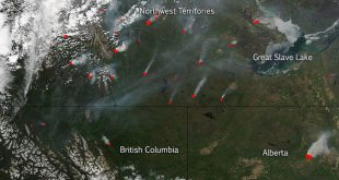 File photo: Canadian wildfires image taken by NASA's Aqua satellite on May 30, 2015
