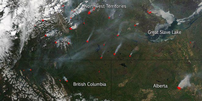 File photo: Canadian wildfires image taken by NASA's Aqua satellite on May 30, 2015