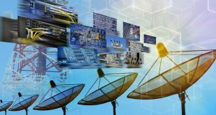 Satellite dishes and data illustration, C-Band, spectrum