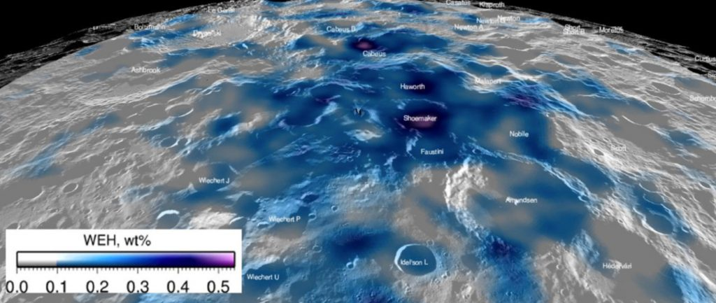 LEND polar water equivalent hydrogen WEH map. Perspective view of the estimated abundance of water equivalent hydrogen around the lunar south pole. Map from Sanin et al. (2017) and overlain on LROC WAC mosaic in Lunar QuickMap.