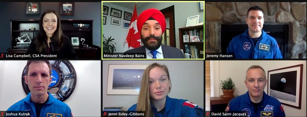 Canadian Space Agency President Lisa Campbell, ISED Minister Navdeep Bains, Canadian astronauts Jeremy Hansen, Joshua Kutryk, Jenni Side-Gibbons and David Saint-Jacques participate in the announcement of the Gateway Treaty with NASA.
