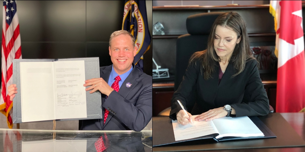 NASA Administrator Jim Bridenstine and Canadian Space Agency President Lisa Campbell sign the Gateway Treaty
