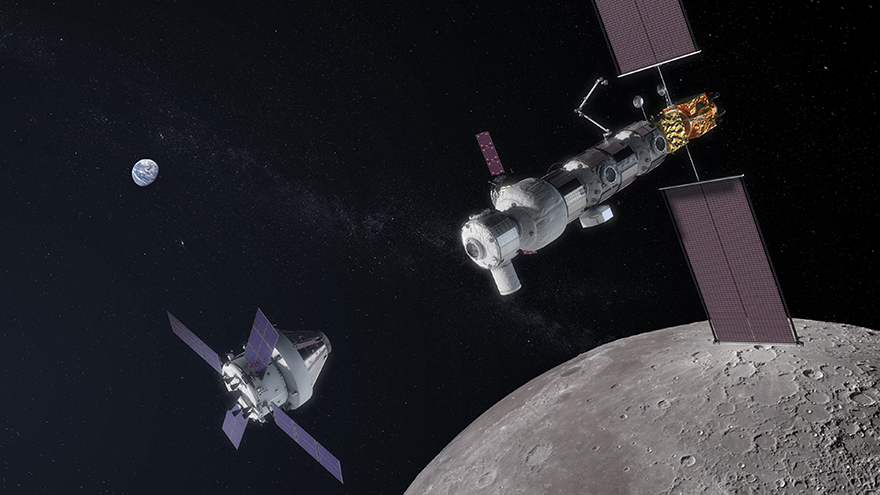 An artist's concept of the Orion spacecraft approaching the Lunar Gateway