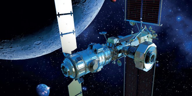 European Space Agency artist poster of then Lunar Gateway with Canadarm3