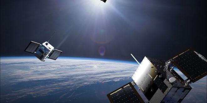 Artist illustration of Space Flight Laboratory HawkEye 360 satellites
