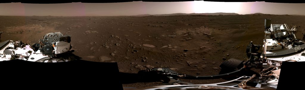 Perseverance Navcams 360-Degree Panorama - This panorama, taken on Feb. 20, 2021, by the Navigation Cameras, or Navcams, aboard NASA's Perseverance Mars rover, was stitched together from six individual images after they were sent back to Earth. Credit: NASA/JPL-Caltech.