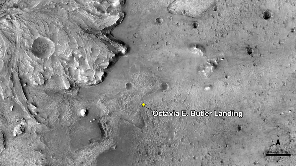 NASA has named the landing site of the agency's Perseverance rover after the science fiction author Octavia E. Butler, as seen in this image from the High Resolution Imaging Experiment camera aboard NASA's Mars Reconnaissance Orbiter