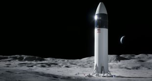 Illustration of SpaceX Starship human lander design that will carry the first NASA astronauts to the surface of the Moon under the Artemis program. SpaceX