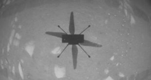 NASA's Ingenuity Mars Helicopter captured this shot as it hovered over the Martian surface on April 19, 2021, during the first instance of powered, controlled flight on another planet. It used its navigation camera, which autonomously tracks the ground during flight