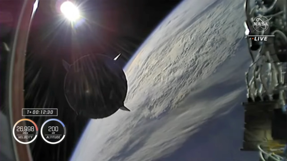 Second stage separation. Credit: NASA TV.