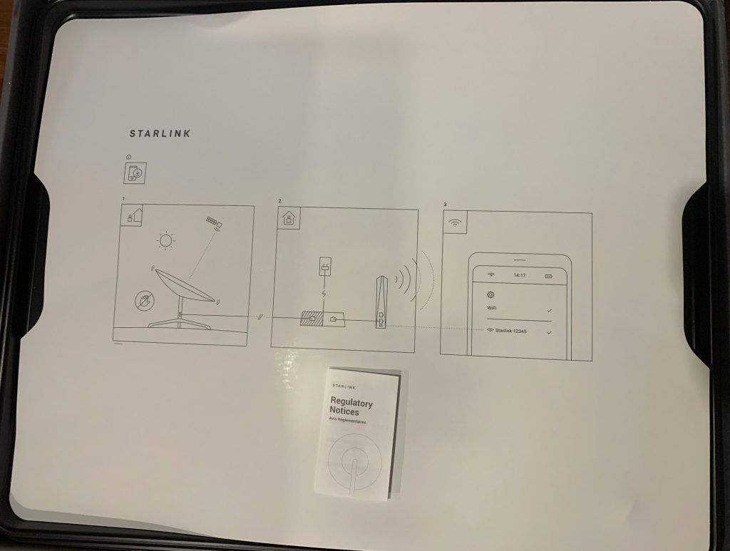Starlink box with bilingual regulatory notice. Credit: SpaceQ.