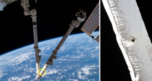 Space Debris impact on the Canadarm2 on the International Space Station
