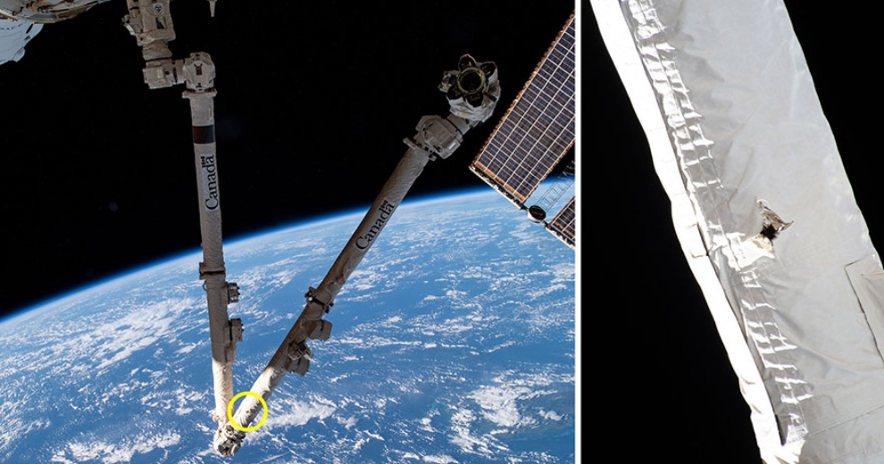 Damage on the Canadarm2. Credit: NASA/Canadian Space Agency.