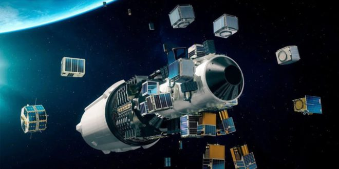 An artist's impression of the Exolaunch's Fingerspitzengefühl satellites deployment into orbit from the SpaceX Transporter-2 mission