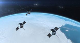 Artist's rendering of the Space Flight lab built HawkEye 360 Cluster 3 in orbit
