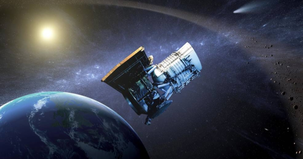 Artist's concept of NASA's WISE (Wide-field Infrared Survey Explorer) spacecraft, which was an infrared-wavelength astronomical space telescope active from December 2009 to February 2011. In September 2013 the spacecraft was assigned a new mission as NEOWISE to help find near-Earth asteroids and comets. Credits: NASA/JPL-Caltech