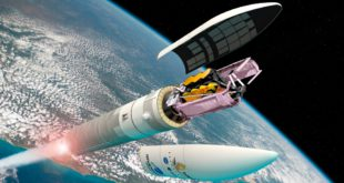 Artist's view of the James Webb Space Telescope on an Ariane 5 rocke
