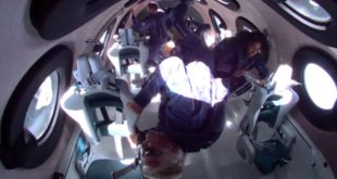 Virgin Galactic Unity 22 participants including Sir Richard Branson enjoy the weightlessness of space