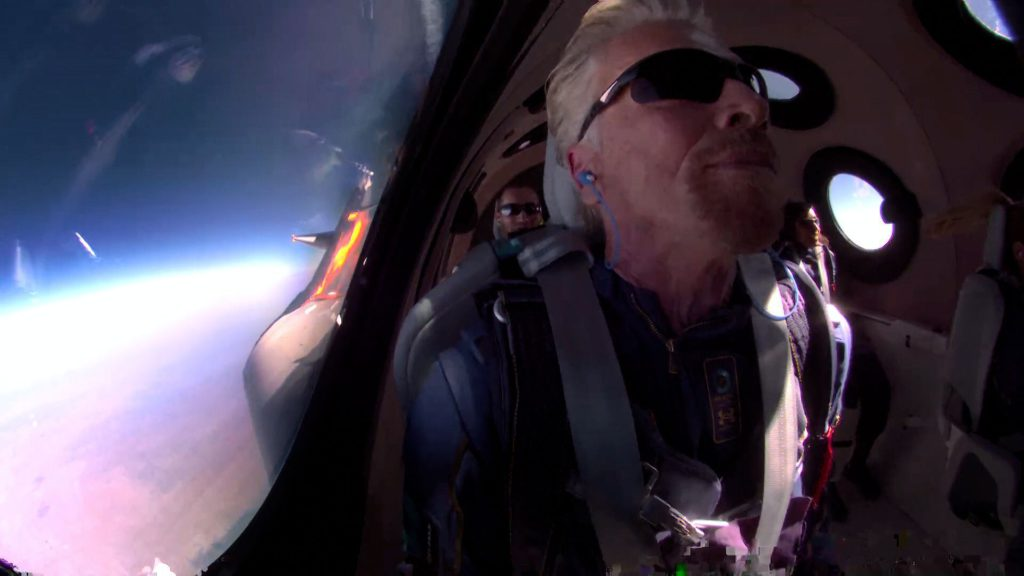 Sir Richard Branson in VSS Unity on his way to space. Credit: Virgin Galactic.