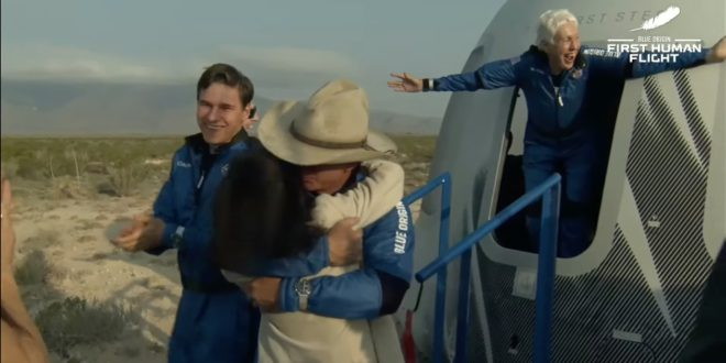 Success and joy as the New Shepard rocket reaches space and returns safely to Earth. Jeff Bezos gets a hug, Oliver Daemen is all smiles and Wally Funk is full of joy