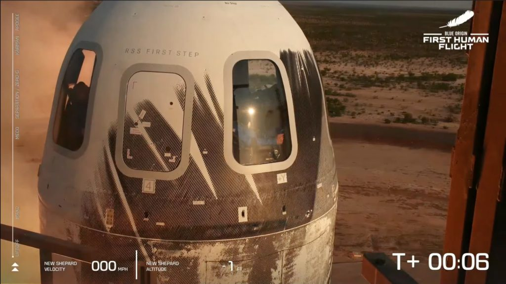 The crew braces at New Shepard liftoff. Credit: Blue Origin.