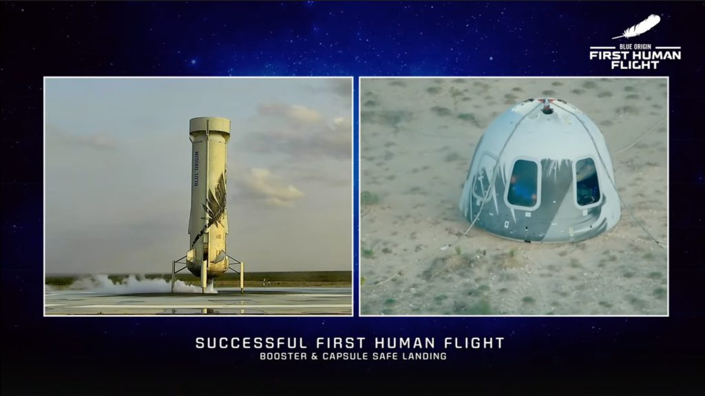 Success. The booster lands and shortly afterwards the capsule touches down softly. Credit: Blue Origin.