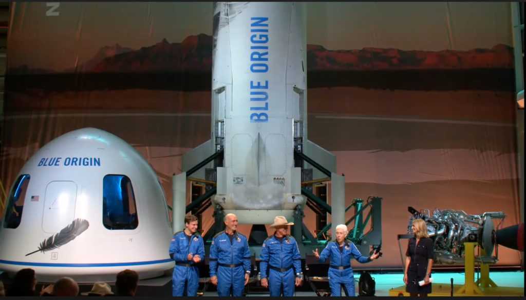 Post launch news conference. Credit: Blue Origin.
