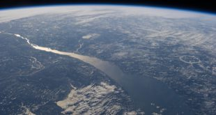 The St. Lawrence River and its estuary, photographed from the International Space Station by Chris Hadfield