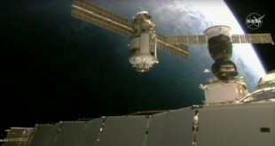 Nauka approaches the International Space Station, preparing to dock