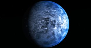 Blue and bizarre - This illustration shows exoplanet HD 189733b, a huge gas giant that orbits very close to its host star, HD 189733. The planet's atmosphere is scorching with a temperature of over 1,000 degrees Celsius, and it rains glass, sideways, in howling 4,300 mph (7,000 kilometer-per-hour) winds