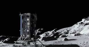 This illustration shows a concept for a commercial lunar lander from Intuitive Machines of Houston
