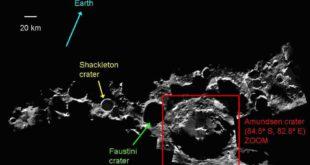 Lunar south pole mosaic - annotated