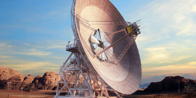 This artist's concept shows what Deep Space Station-23, a new antenna dish capable of supporting both radio wave and laser communications, will look like when completed at the Deep Space Network's Goldstone, California, complex
