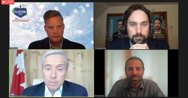 AIAC election town hall on space. Top left to bottom right: Mike Mueller (AIAC), Sébastien Lemire (Bloc Québécois), François-Philippe Champagne (Liberal), and Avneet Johal (NDP). Not shown, Ed Fast (Conservative)