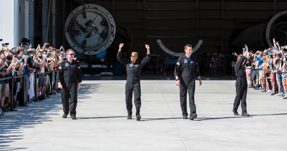 The Inspiration4 crew prior to liftoff. (From left to right: Chris Sembroski, Dr. Sian Proctor, Jared Isaacman and Hayley Arceneaux. (Sept. 15, 2021) Credit: SpaceX.