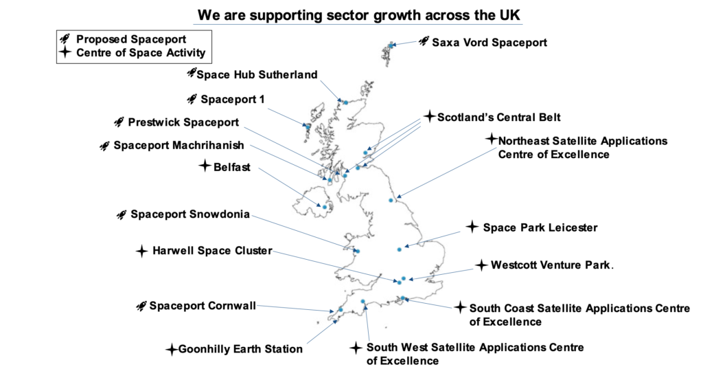 Some of the UK's existing clusters of activity are shown in the diagram. Credit: UK Government.