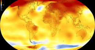 This map shows Earth's average global temperature from 2013 to 2017, as compared to a baseline average from 1951 to 1980, according to an analysis by NASA's Goddard Institute for Space Studies. Yellows, oranges, and reds show regions warmer than the baseline