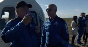William Shatner recounts his moving spaceflight experience to Blue Origin founder Jeff Bezos